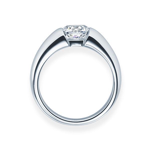 Verlobungsring mit Diamant - Spannfassung - Weiß- Modern-20585