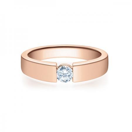 Verlobungsring mit Diamant - Spannfassung - Rosegold - Modern