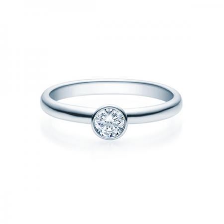 Verlobungsring mit Diamant - Zargenfassung - Weiß- Klassisch