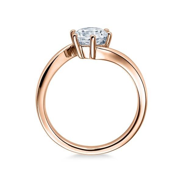 Verlobungsring mit Diamant - Geschwungene Spannfassung mit 6 Krappen - Modern - Rotgold-20336