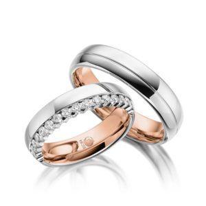 Eheringe - Design - mit Diamanten - Zweifarbig- RU-1052-1