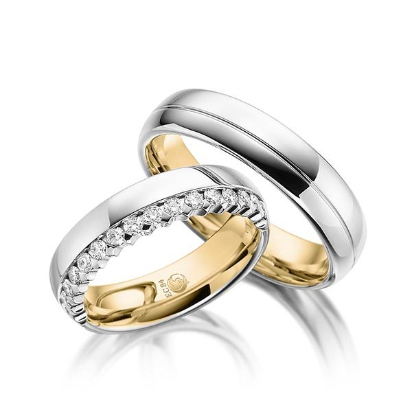 Eheringe - Design - mit Diamanten - Zweifarbig- RU-1052-1 Gelbgold/Weißgold
