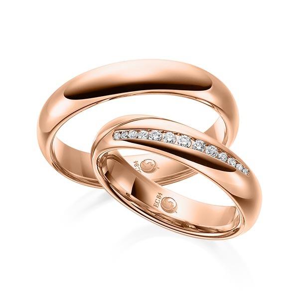Eheringe - Design - mit Diamanten - RU-1527-1-Rotgold