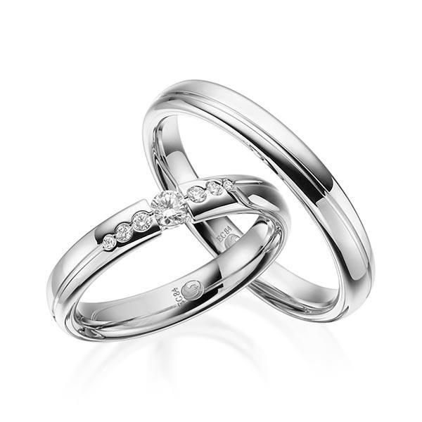 Eheringe - Design - mit Diamanten - RU-1533-1-Weißgold