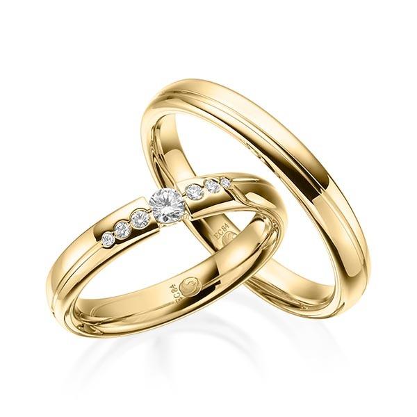 Eheringe - Design - mit Diamanten - RU-1533-1-Gelbgold