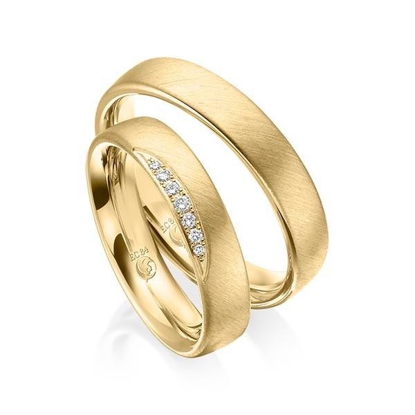 Eheringe - Design - mit Diamanten - RU-1538-1-Rotgold