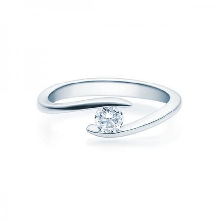 Verlobungsring mit Diamant - Geschwungene Spannfassung - weiß- Modern - 18015