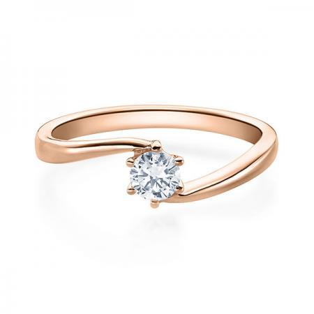 Verlobungsring mit Diamant - Geschwungene Spannfassung mit 6 Krappen - Modern - Rotgold