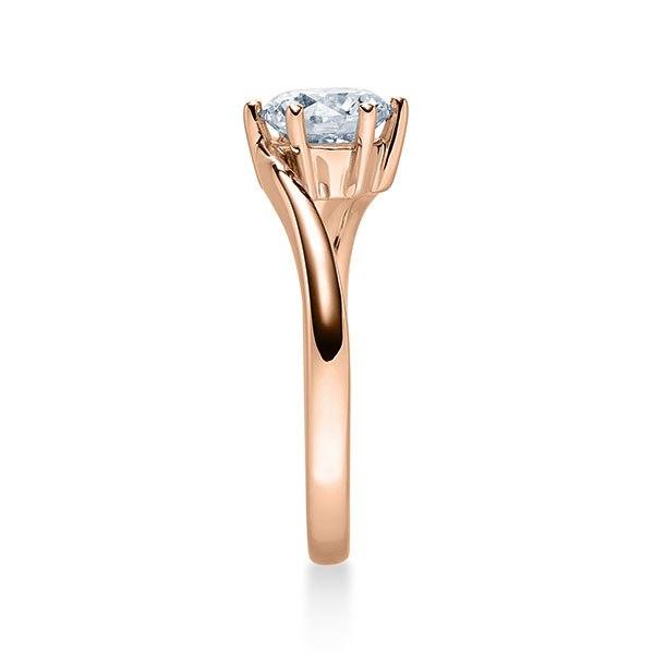 Verlobungsring mit Diamant - Geschwungene Spannfassung mit 6 Krappen - Modern - Rotgold-20337