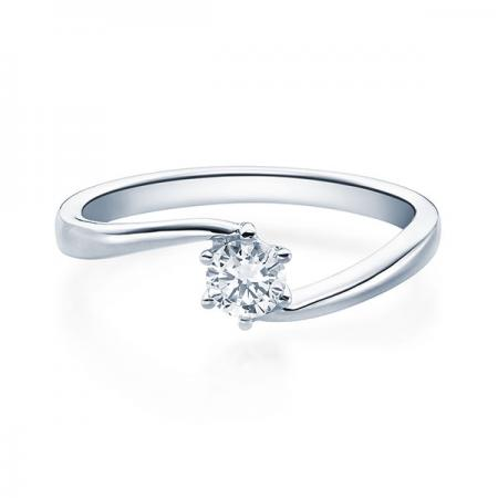 Verlobungsring mit Diamant - Geschwungene Spannfassung mit 6 Krappen - Modern - Weißgold/Platin