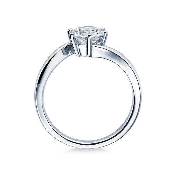 Verlobungsring mit Diamant - Geschwungene Spannfassung mit 6 Krappen - Modern - Weiß-20357