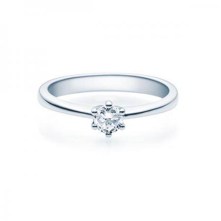 Verlobungsring mit Diamant - 6er-Krappenfassung - Rubin - 18001