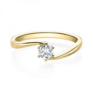 Verlobungsring mit Diamant - Geschwungene Spannfassung mit 6 Krappen - Modern - Gelbgold