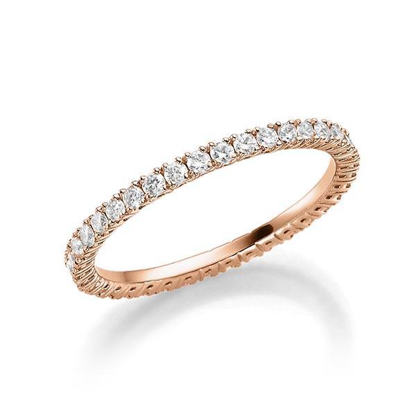 Memoire Ring in 18 kt Rotgold voll ausgefasst mit kleinen Diamanten