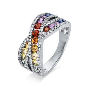 Überkreuzter Multicolor Diamant Ring - halb ausgefasst - Weißgold