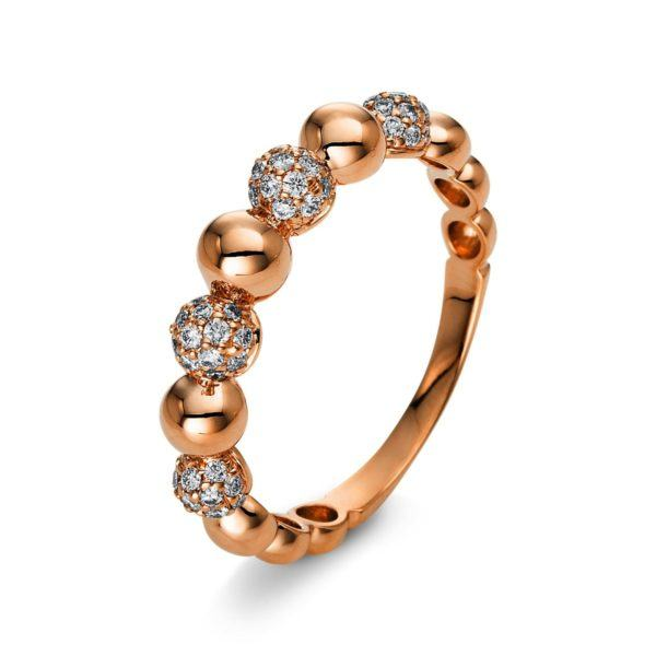 Dezenter Brillanten Ring im Kugel Design- Rotgold