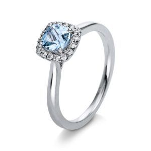 Verlobungsring mit blauem Stein im Peruzzischliff- 4er-Krappenfassung - Halo - Weißgold