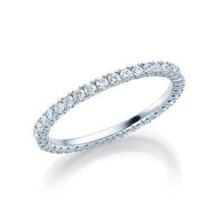 Memoire Ring in 18 kt Weißgold voll ausgefasst mit kleinen Diamanten