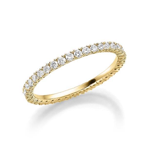Memoire Ring in 18 kt Gelbgold voll ausgefasst mit kleinen Diamanten