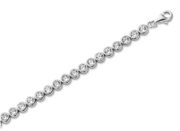 Tennisarmband mit Zirkonia 100 Facetten 3mm Echt Silber 925