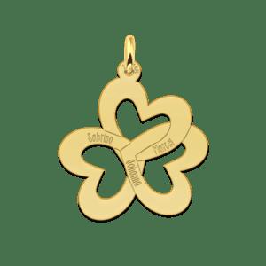 Goldene dreifache Herzkette mit Namen