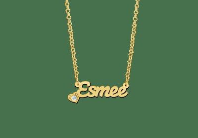 goldene Namenskette Collier Anhänger Geschenk Schmuck mit Zirkonia