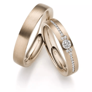 Trauringe Gerstner Haselnuss Gold mit Brillanten Diamanten karat design