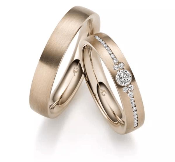 Trauringe Gerstner Haselnuss Gold mit Brillanten Diamanten karat design