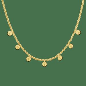Goldene Namenskette mit runden Buchstaben in Gelbgold 14 karat individuell Geschenk Schmuck