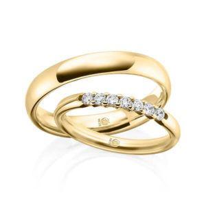 Paar Trauringe / Eheringe Weißgold 585/- zus. 0.210 ct. tw si