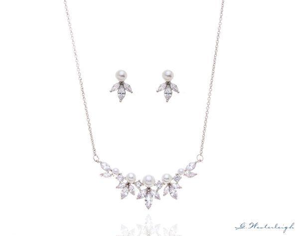 Brautschmuck-Set Silber Süßwasser Perle Ohrringe und Kette Armband creme