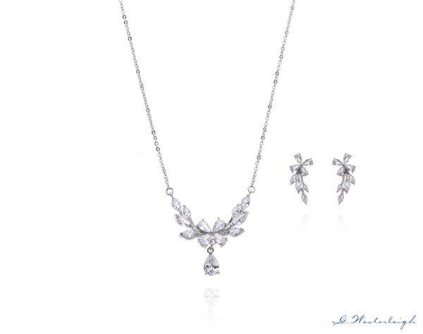 Brautschmuck-Set Silber Zirkonia Tropfen Ohrringe und Kette floral