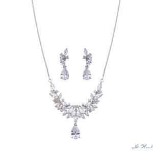 Brautschmuck-Set Silber Zirkonia Tropfen Ohrringe und Kette