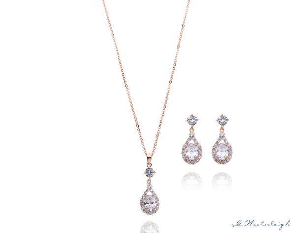 Brautschmuck-Set Silber Zirkonia Tropfen Ohrringe und Kette halo