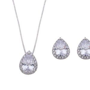 Brautschmuck-Set Silber Tropfen Form weißgold Ohrringe und Kette Armband