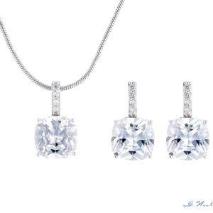 Brautschmuck-Set Silber Cube Ohrringe und Kette Armband
