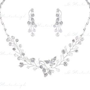Brautschmuck-Set Silber Zirkonia Tropfen Ohrringe und Kette romantisch