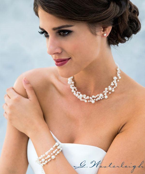 Brautschmuck-Set Silber Süßwasser Perle Ohrringe und Kette Armband