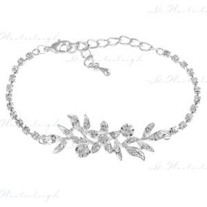 Brautschmuck Armband silber weißgold zirkonia besatz floral