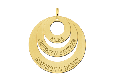 Anhänger Collier Kette gold Familie Gravur Geschenk Ringe